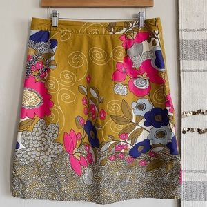 Downeast Retro Floral Skirt Mustard and Navy